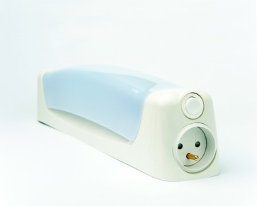 Applique murale LENN tube lino Led 6w IP21 blanc + inter + Prise