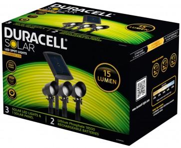 KIT 3 SPOTS 15 lumens + PANNEAU SOLAIRE Noir Mat Duracell